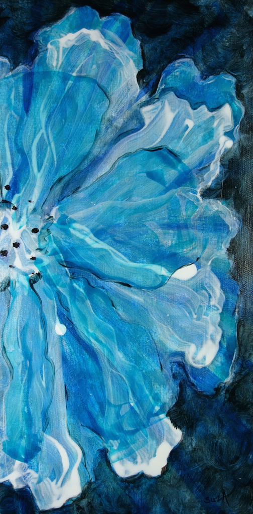 "© Susan Andre, Genesis 4: Blue II, 10""x20""x1.5""  acrylic mixed media on gallery wrap"